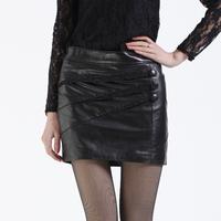 2013 women's leather skirt genuine leather short skirt half-length lace stripe slim hip skirt step