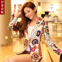 2013 summer outerwear fashion slim medium-long print fancy blazer suit