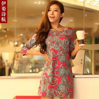2013 summer elegant print half sleeve plus size one-piece dress