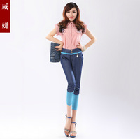 2013 all-match slim comfortable casual patchwork gauze high waist denim capris harem pants female
