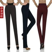 2013 women's plus size pants mid waist thickening plus velvet pencil skinny pants