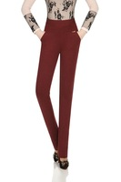 The brasen elastic multicolour straight pants high waist high-elastic plus size plus size female trousers