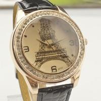Specials! Hot Sale New Listing Fashion Eiffel Tower Inlaid Rhinestone Leather Quartz Woman Watch