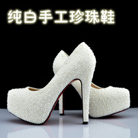 Fashion Wedding  formal     white  pearl  genuine leather   crystal  Red sole Platform  Stiletto High Heels