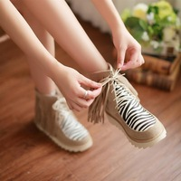 Elegant color block 2013 decoration spring and autumn stripe casual tassel boots wedges female low-heeled ankle boots plus size