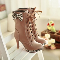 2013 platform gentlewomen medium-leg bow high-heeled boots martin boots plus size small