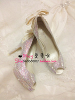 women's Noble rhinestone the bride wedding shoes Rgxzr mwy  lace after the bow rhinestone crystal   wedding   shoes