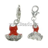 Free shipping!!!Zinc Alloy Lobster Clasp Charm,Jewelry Fashion, Garment, enamel, red, nickel, lead & cadmium free, 14x32x14mm