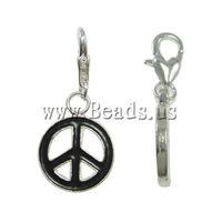 Free shipping!!!Zinc Alloy Lobster Clasp Charm,Wedding Jewelry, Peace Logo, enamel, black, nickel, lead & cadmium free