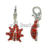 Free shipping!!!Zinc Alloy Lobster Clasp Charm,2013 Womens, Ladybu enamel & with rhinestone, red, nickel, lead & cadmium free