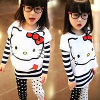 New arrival autumn female child cartoon kt cat batwing shirt stripe long-sleeve slim hip basic shirt twinset