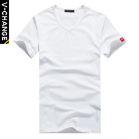 Male t-shirt male T-shirt v-neck slim solid color t-shirt V-neck basic shirt short-sleeve T-shirt