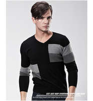 2013 men's clothing sweater male 100% V-neck cotton sweater pullover sweater