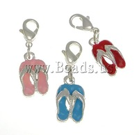 Free shipping!!!Zinc Alloy Lobster Clasp Charm,Promotion, with Brass, Shoes, silver color plated, enamel, nickel