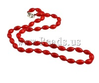 Free shipping!!!Coral Necklace,Jewelry For Men, Natural Coral, brass lobster clasp, Oval, red, 8x5mm, Length:17 Inch