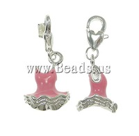 Free shipping!!!Zinc Alloy Lobster Clasp Charm,Luxury, Garment, enamel, pink, nickel, lead & cadmium free, 14x34x12mm