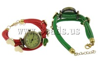 Free shipping!!!Zinc Alloy watch bracelet,Christmas Gift, with PU & copper coated plastic & Iron, brass lobster clasp