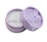 Free shipping!!!Cardboard Ring Box,Promotion, with Velveteen, Flat Round, purple, 55x35mm, 24PCs/Ba Sold By Bag