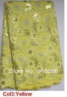 FREE SHIPPING! big organza lace in high quality bridal african lace fabric for woman in yellow! TKL1996