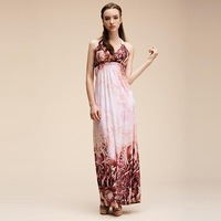 Free Shipping New Fashion 2013 Women's Boho floral print dress maxi one-piece long party dress FREE size