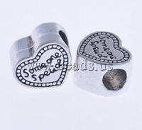 Free shipping!!!Zinc Alloy European Beads,Statement jewellery 2013, Heart, without troll & enamel, nickel, lead & cadmium free