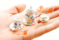 Doll house mini dollhouse furniture tea set model small 15 millenum flower q