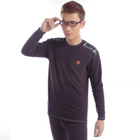 Plaid combed cotton o-neck velvet rib knitting male casual thermal underwear set plus size