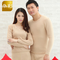 Natural colored cotton 's top cotton velvet plus velvet thickening thermal underwear male women's set