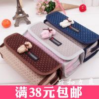 Free Shipping Wholesale Retail Foldable Oxford Fabric Pen Bag Multifunctional Cartoon Pencil Case Cute Bear Stationery Box