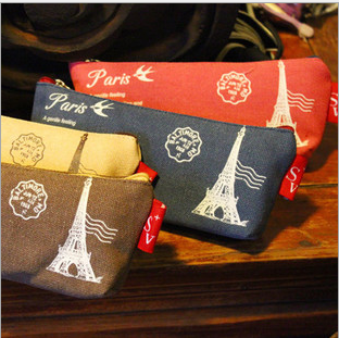 Free Shipping Wholesale Retail Cheap Durable Stationery Eiffel Tower Canvas Pencil Case Handy Storage Bag Students Supplies