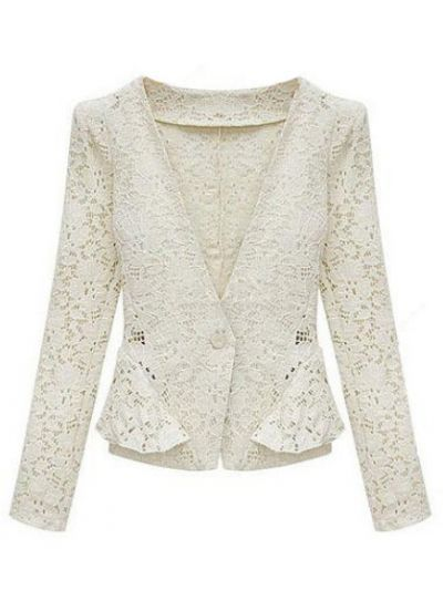Free Shipping Lady's New Stylish White Long Sleeve Hollow Lace Crop Jacket, Hot Sale!(Chi