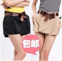 Hot-Selling 2013 Summer Solid Women Shorts Black/Khaki Sashes One Size Fashion Casual Wear Hot shorts Free Shipping 1PC