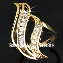 Upscale Brand Fine Jewelry Full Cubic Zirconia 18K Gold Engagement Wedding Anniversary Rings for Women