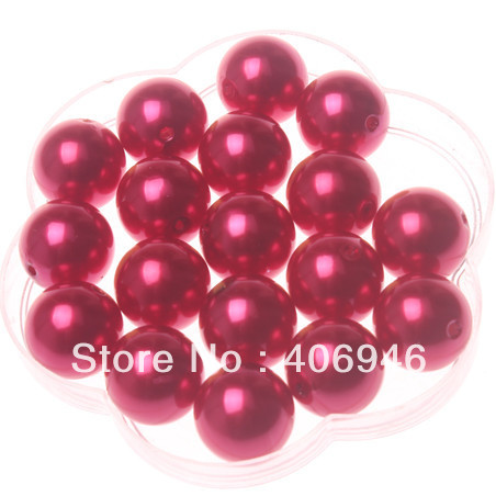 A-60 Chritmas red pearl beads.Free shipping chunky 20mm round loose pearl beads.High quality necklae pearl beads.(China (Mainland))