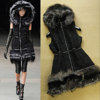 European Fashion 2013 Autumn Winter New Arrival High Quality Fur Blended Collar With Hood Patchwork Vest Fur Coats Women