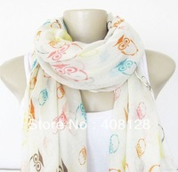 Cute Owl Scarf - Large Fashion Scarf for Women white color 10pcs/lot
