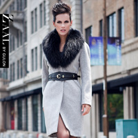 Zaal spring overcoat belt raccoon fur woolen outerwear elegant slim woolen outerwear female d206