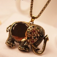 new 2013 Vintage royal crystal elephant long necklace female fashion necklace fashion spring and summer accessories
