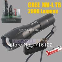 1set 2000 Lumen Flashlight Led Cree XML XM-L T6 Torch Camping Equipment The Lamp Lamps Flash Light Waterproof +retail box