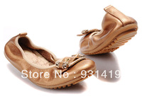 EMS   Dresses New Fashion Shoes 2013 Metal Decorative Comfortable Soft Bottom Flats Shoes Women Shoes euro 35-40