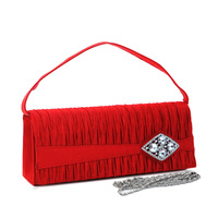 Fashion Designer Handbag Ladies Shoulder Bag Pleated Evening Bag Clutch with Rhinestone Diamond Brooch