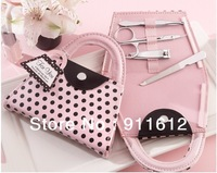 Free shipping Pink Polka Dot Purse Manicure Set 30PCS/LOT wedding baby shower favors and gifts