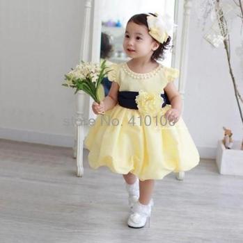 H15 Free Shipping Hot Sale Baby 2013 Summer New design Baby Girls Yellow Princess dress Kids wear Summer dress for girls