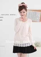 Hot Wholesale!!! Free Shipping Long Sleeve Autumn & Winter Fashion Lace Women Pregnant Nursing Clothes T-shirts Maternity Tops