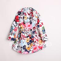 2014 new brand retail autumn winter Girls coat trench print flower floral outerwear coatchildren's clothing belt fashion 2-12T