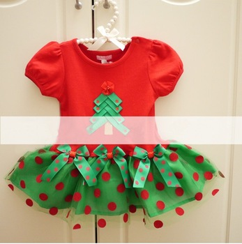 1PCS FREE SHIPPING!top quality!2014 christmas dresses girl red mini lace dress kids christmas tree pattern dress in stock