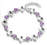 wholesale 100% pure 925 sterling Silver platinum amethyst  bracelet fine jewelry  DD023