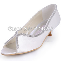 MZ536 free shipping wholesale latest design large size white satin low heel women evening shoes with crystal