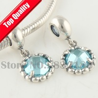 925 Silver Dangle Charm Beads with Facet Sapphire Crystal  Jewelry, Compatible With Pandora Style Bracelet YB204A