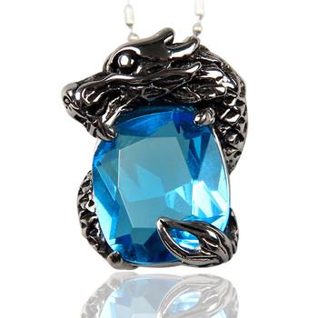 Dragon zodiac vintage male titanium necklace pendant bamboo chain boys gift